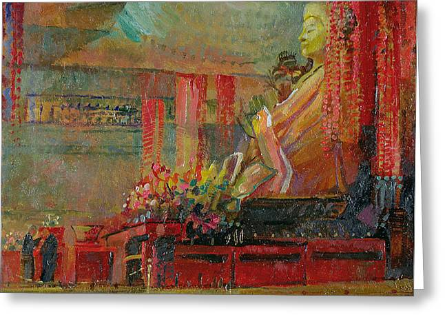 Meditate Greeting Cards - Preparing For Meditation, 1998 Oil On Canvas See Also 150327 Greeting Card by Bob Brown