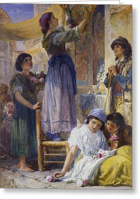 Preparing For The Festival Greeting Card by Frank Warwick William Topham