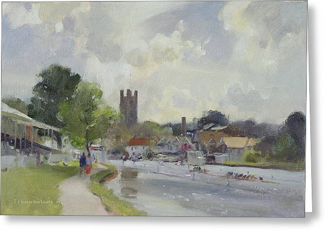River Thames Greeting Cards - Preparing For The Henley Regatta, 1994 Oil On Canvas Greeting Card by Trevor Chamberlain