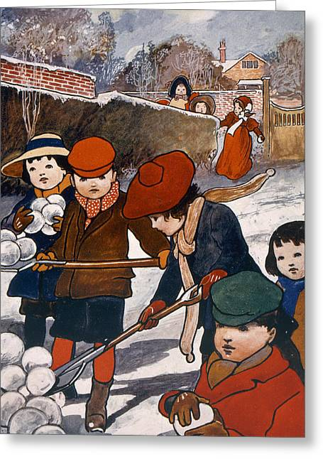 Snowball Fight Greeting Cards - Preparing for the snowball fight Greeting Card by English School