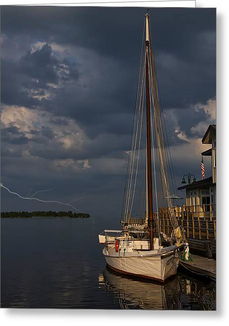 Sailboats In Water Greeting Cards - Preparing For The Storm Greeting Card by Chris Flees