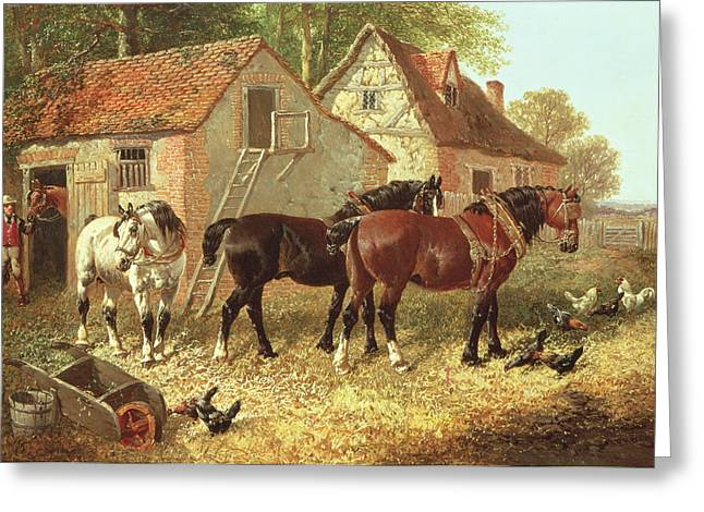 Farmyard Greeting Cards - Preparing The Plough Horses Greeting Card by John Frederick Herring Jnr