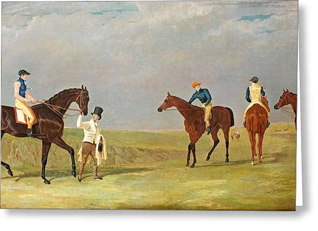 Herring Greeting Cards - Preparing to Start for the Doncaster Gold Cup 1825 Greeting Card by John Frederick Herring Senior