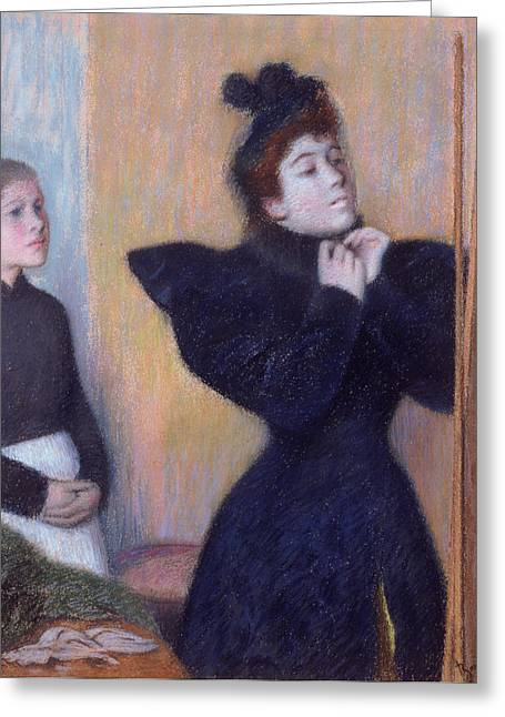 Veiled Greeting Cards - Preparing To To Out, 1894 Pastel Greeting Card by Federigo Zandomeneghi