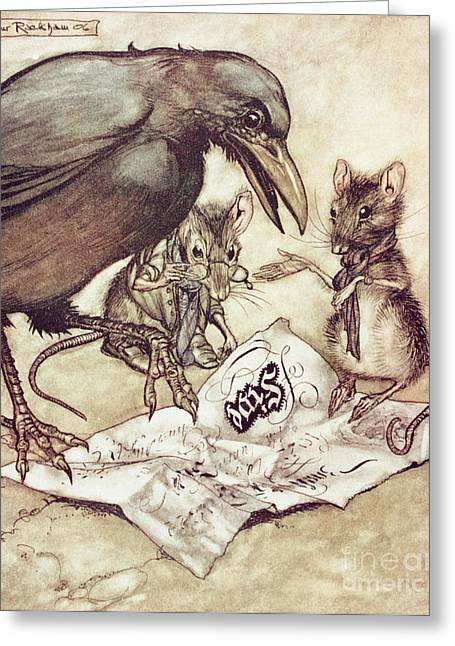 Kids Books Drawings Greeting Cards - Preposterous cried Solomon in a rage from Peter Pan in Kensington Gardens Greeting Card by Arthur Rackham