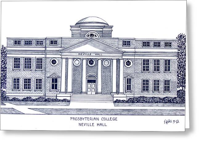 College Campus Buildings Drawings Greeting Cards - Presbyterian College Greeting Card by Frederic Kohli