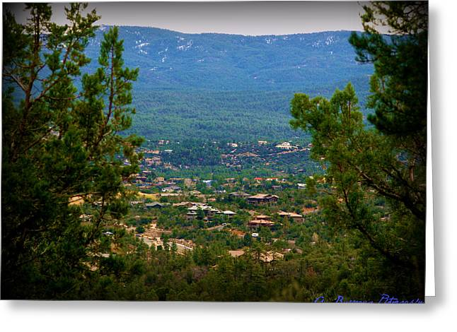 Prescott Greeting Cards - Prescott Homes and Snowy Mountains Greeting Card by Aaron Burrows