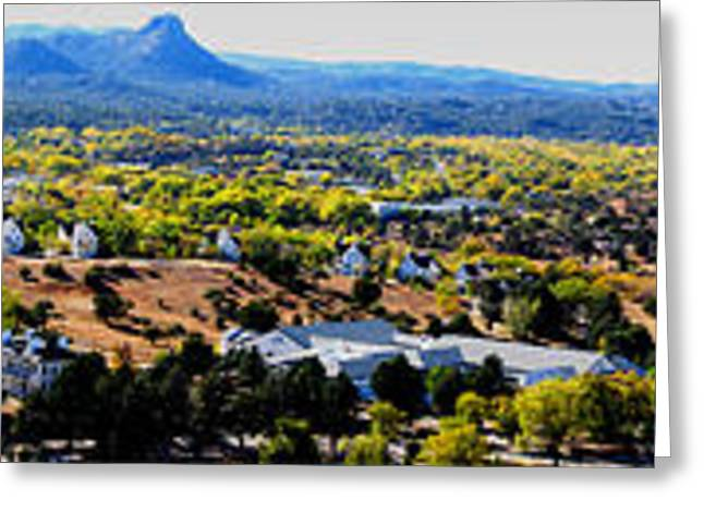 Prescott Greeting Cards - Prescott in Autumn Panoramic Greeting Card by Aaron Burrows
