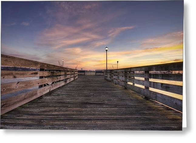 New England Village Greeting Cards - Prescott Park Boardwalk Greeting Card by Eric Gendron