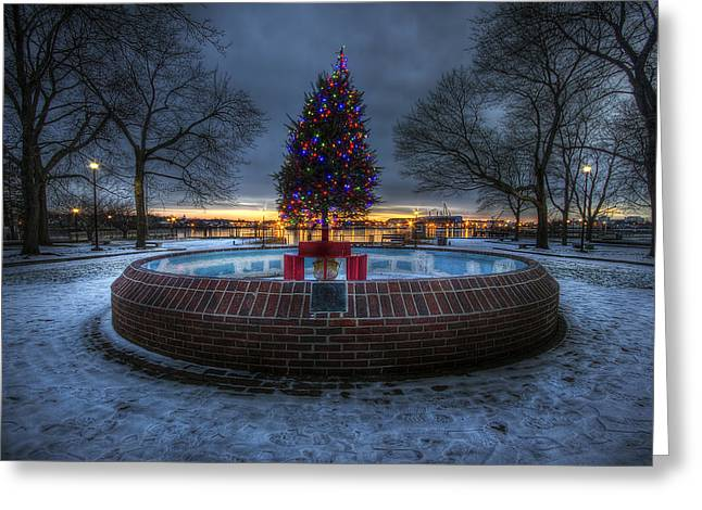 Prescott Greeting Cards - Prescott Park Christmas Tree Greeting Card by Eric Gendron