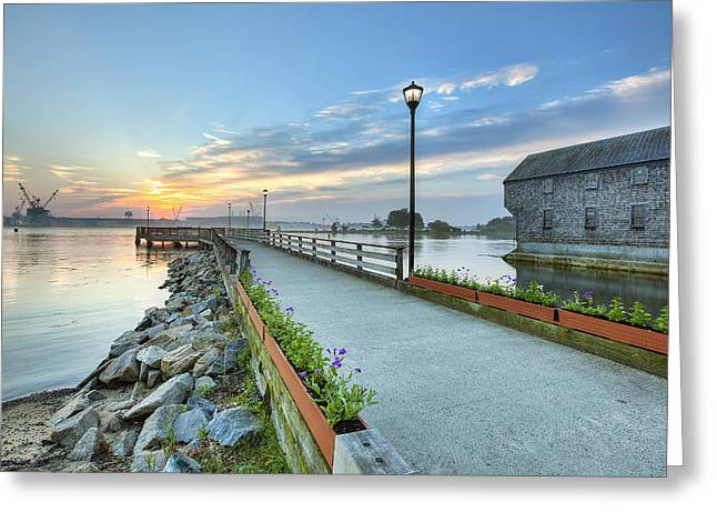 New England Village Scene Greeting Cards - Prescott Pier Greeting Card by Eric Gendron