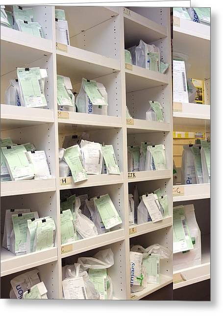 Prescription Greeting Cards - Prescriptions awaiting collection Greeting Card by Science Photo Library