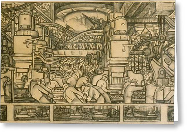 Presentation drawing of the automotive panel for the north wall of the Detroit Industry Mural Greeting Card by Diego Rivera