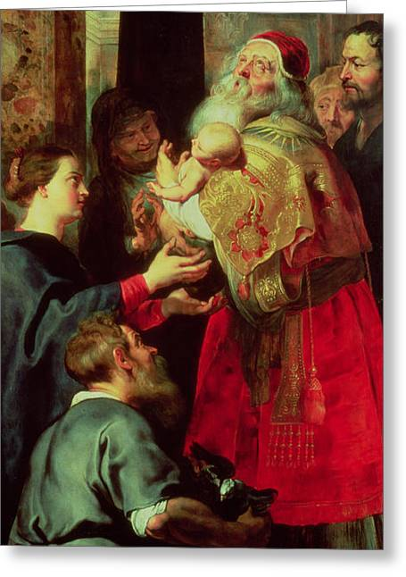 Close Up Paintings Greeting Cards - Presentation in the Temple Greeting Card by Rubens