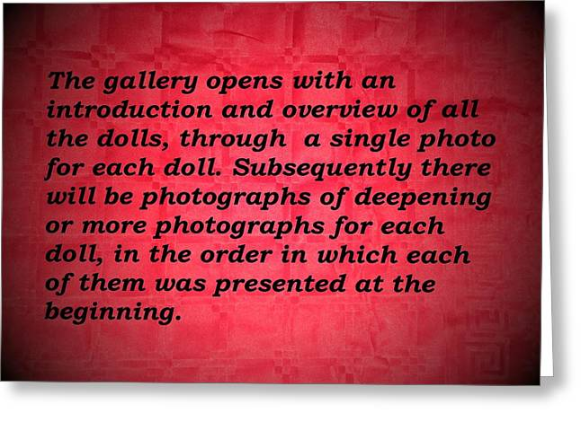 Amy Artwork Greeting Cards - Presentation of the gallery dedicated to my collection of vintage dolls  Greeting Card by Donatella Muggianu