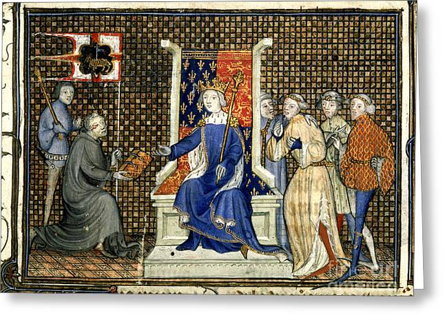 Monk-religious Occupation Greeting Cards - Presentation To Richard Ii Greeting Card by British Library