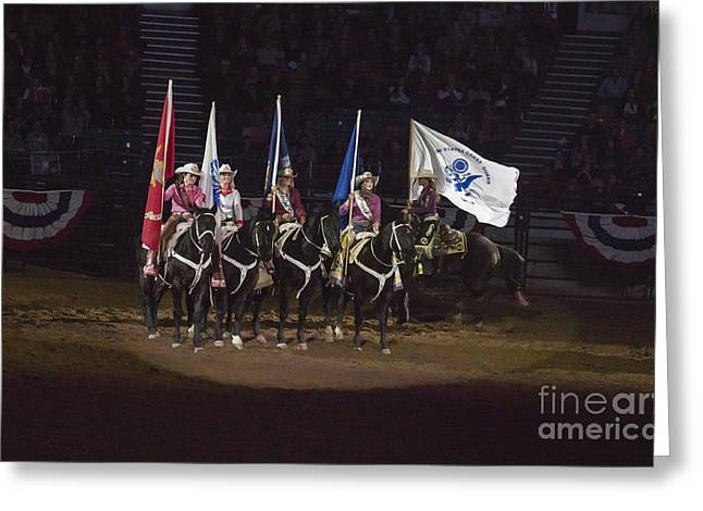 Cooperation Greeting Cards - Presenting The Colors on Horseback Greeting Card by Janice Rae Pariza