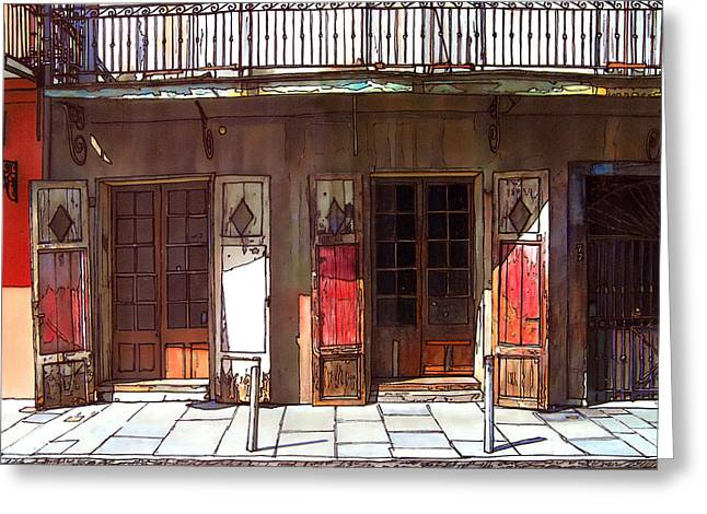 French Doors Greeting Cards - Preservation Hall Doors 370 Greeting Card by John Boles