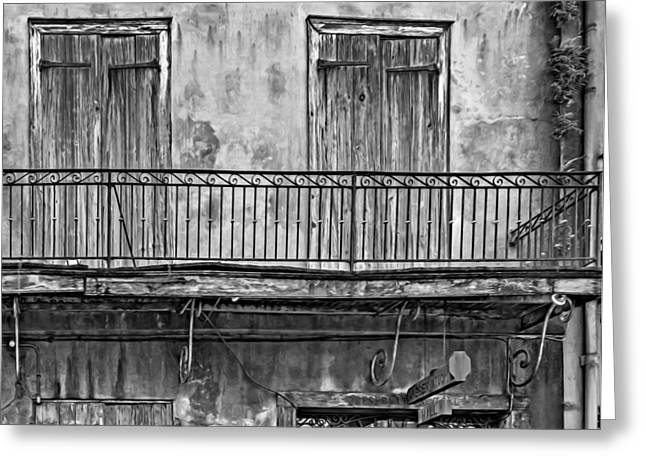 French Doors Greeting Cards - Preservation Hall - Oil bw Greeting Card by Steve Harrington