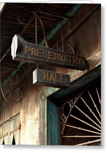 Recently Sold -  - Old Street Greeting Cards - Preservation Hall Greeting Card by Susie Hoffpauir