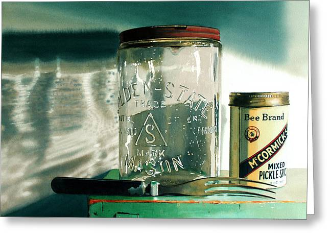 Mason Jars Greeting Cards - Preserving Greeting Card by Denny Bond