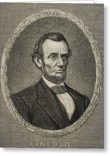 Abolitionist Greeting Cards - President Abraham Lincoln 1809-1865. Engraving Greeting Card by Bridgeman Images