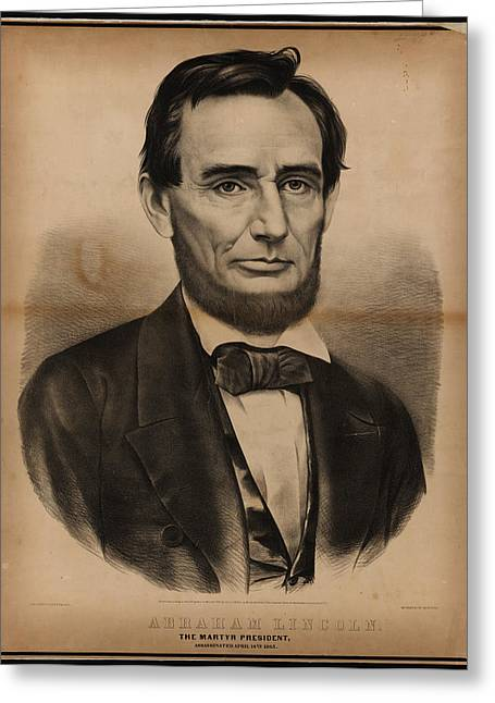 Currier Paintings Greeting Cards - President Abraham Lincoln Portrait Greeting Card by Currier and Ives