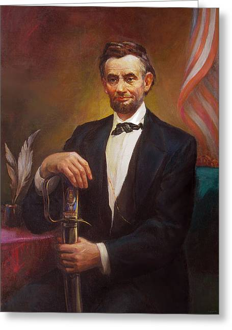 Congressman Paintings Greeting Cards - President Abraham Lincoln Greeting Card by Svitozar Nenyuk