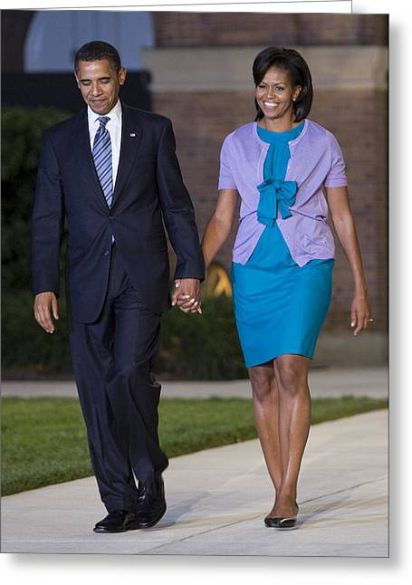 Michelle Obama Photographs Greeting Cards - President and First Lady Greeting Card by JP Tripp