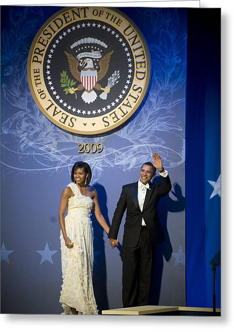 Mullen Greeting Cards - President and Michelle Obama Greeting Card by had J McNeeley