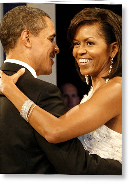 Michelle-obama Greeting Cards - President and Michelle Obama Greeting Card by Official Government Photograph