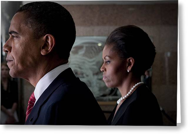 Portrait Of Michelle Obama Greeting Cards - President and Mrs Obama Greeting Card by Mountain Dreams