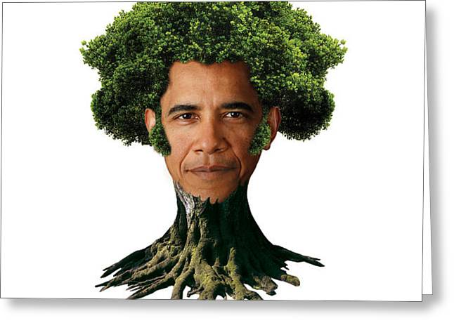 President Barack Obama as a tree Greeting Card by Marian Voicu