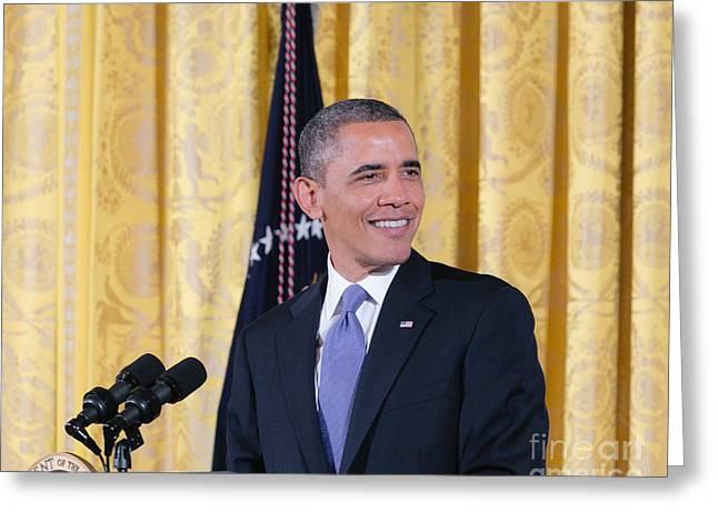 Barack Greeting Cards - President Barack Obama Greeting Card by Ava Reaves