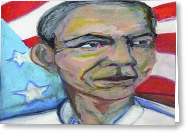 President Obama Mixed Media Greeting Cards - President Barack Obama  Greeting Card by Derrick Hayes