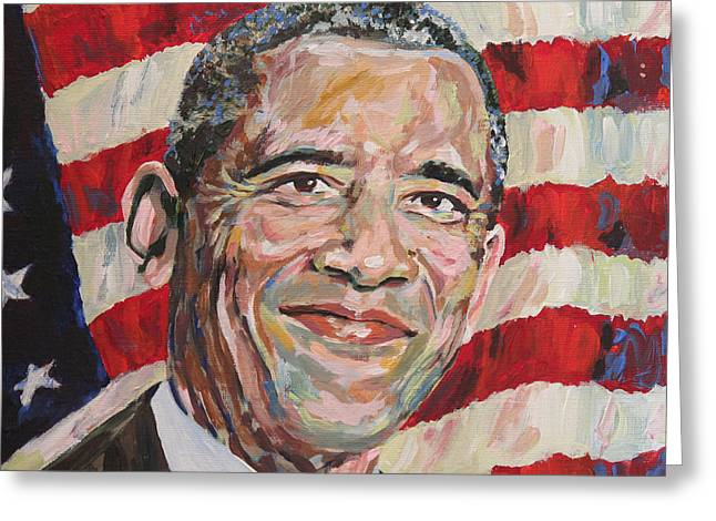 Michelle Obama Greeting Cards - President Barack Obama Portrait Greeting Card by Robert Yaeger