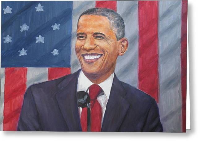 First Black President Greeting Cards - President Barak Obama Greeting Card by Samuel Daffa