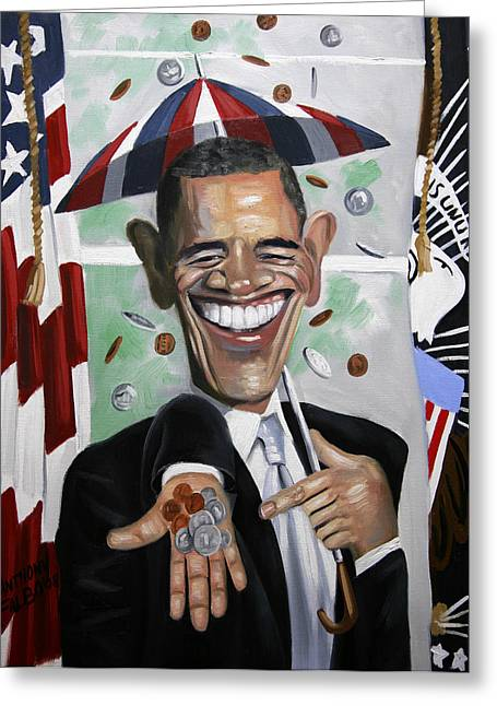 President Obama Digital Art Greeting Cards - President Barock Obama Change Greeting Card by Anthony Falbo