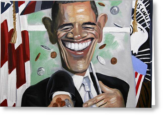 President Barock Obama Change Greeting Card by Anthony Falbo