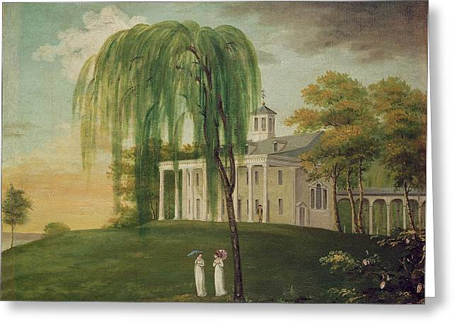 Colonial Architecture Greeting Cards - President George Washington 1732-99 On The Porch Of His House At Mount Vernon Oil On Canvas Greeting Card by American School