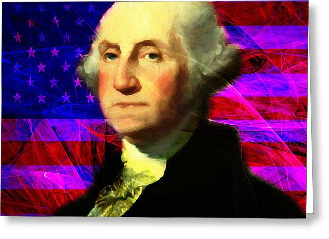 4th July Digital Art Greeting Cards - President George Washington v2 m123 square Greeting Card by Wingsdomain Art and Photography