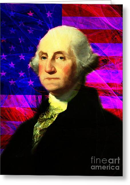 4th July Digital Art Greeting Cards - President George Washington v2 m123 Greeting Card by Wingsdomain Art and Photography