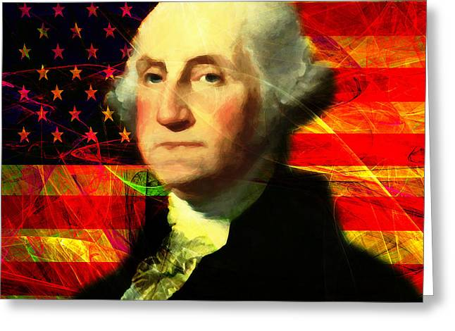 4th July Digital Art Greeting Cards - President George Washington v2 m20 square Greeting Card by Wingsdomain Art and Photography