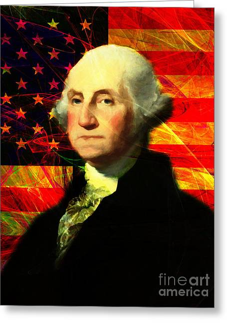 4th July Digital Art Greeting Cards - President George Washington v2 m20 Greeting Card by Wingsdomain Art and Photography