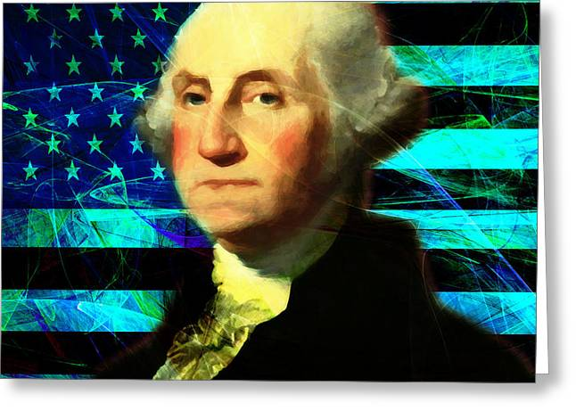 July 4th Greeting Cards - President George Washington v2 p138 square Greeting Card by Wingsdomain Art and Photography