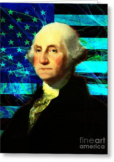 4th July Digital Art Greeting Cards - President George Washington v2 p138 Greeting Card by Wingsdomain Art and Photography