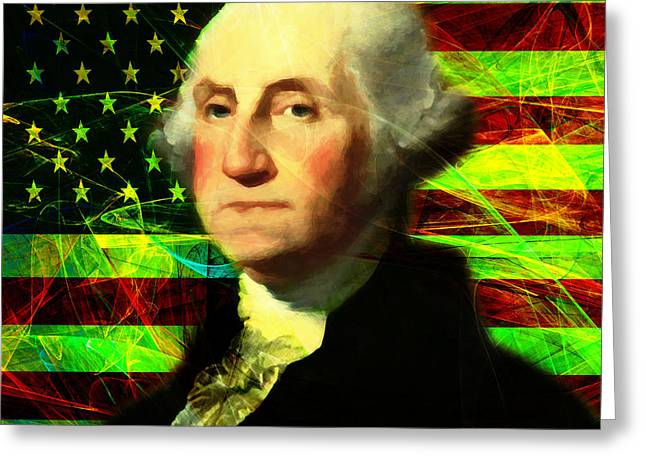 President George Washington V2 P50 Square Greeting Card by Wingsdomain Art and Photography