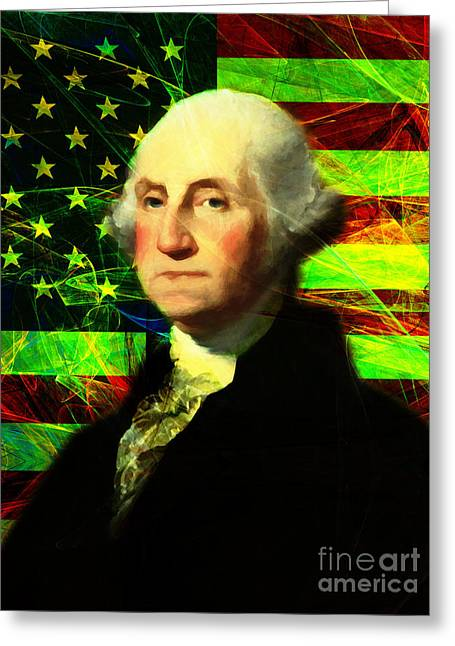 4th July Digital Art Greeting Cards - President George Washington v2 p50 Greeting Card by Wingsdomain Art and Photography