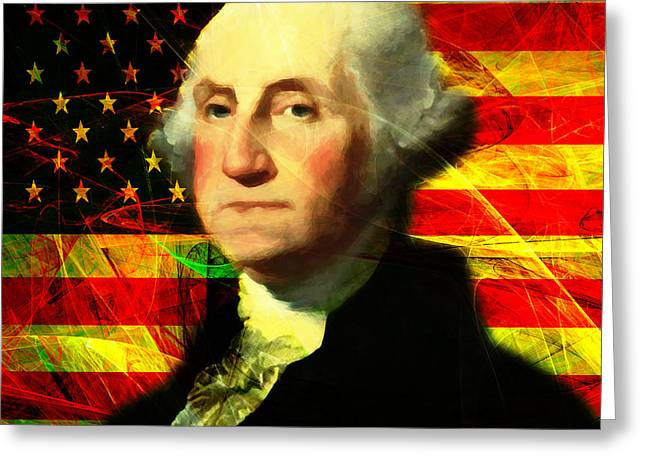 4th July Digital Art Greeting Cards - President George Washington v2 square Greeting Card by Wingsdomain Art and Photography