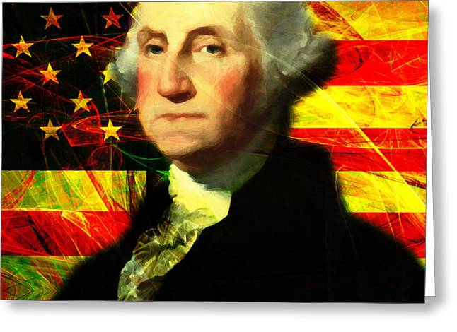President George Washington v2 Greeting Card by Wingsdomain Art and Photography